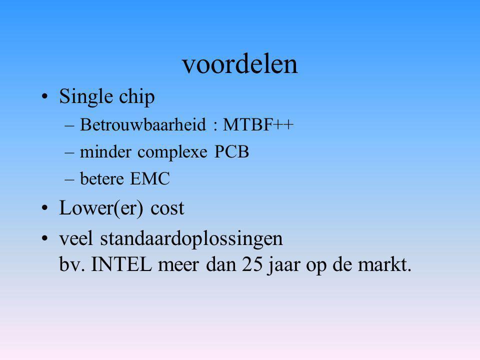 voordelen Single chip –Betrouwbaarheid : MTBF++ –minder complexe PCB –betere EMC Lower(er) cost veel standaardoplossingen bv.