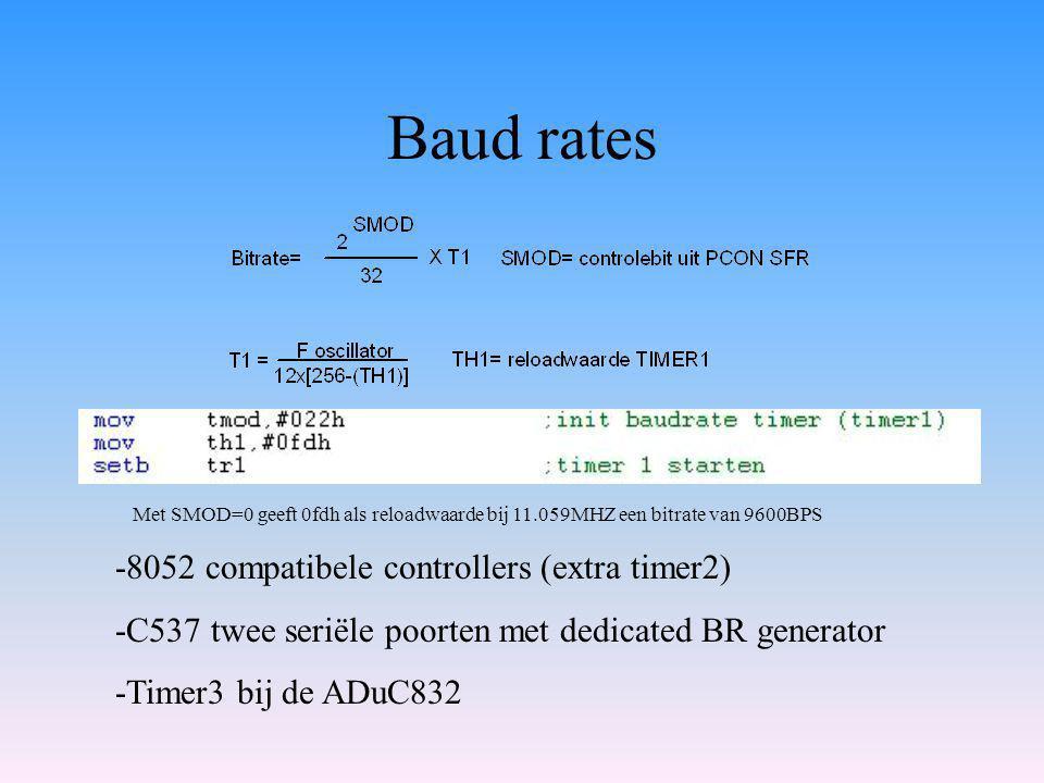 Baud rates -8052 compatibele controllers (extra timer2) -C537 twee seriële poorten met dedicated BR generator -Timer3 bij de ADuC832 Met SMOD=0 geeft 0fdh als reloadwaarde bij 11.059MHZ een bitrate van 9600BPS