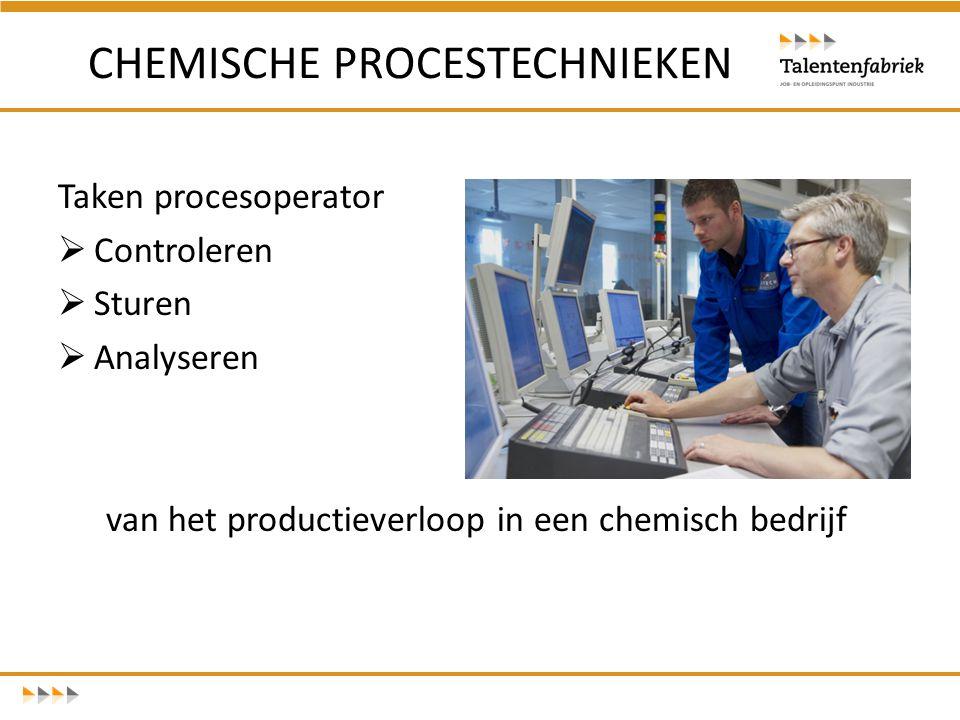 Taken procesoperator  Controleren  Sturen  Analyseren van het productieverloop in een chemisch bedrijf CHEMISCHE PROCESTECHNIEKEN