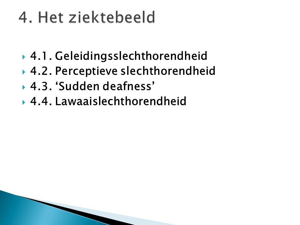  4.1. Geleidingsslechthorendheid  4.2. Perceptieve slechthorendheid  4.3. 'Sudden deafness'  4.4. Lawaaislechthorendheid