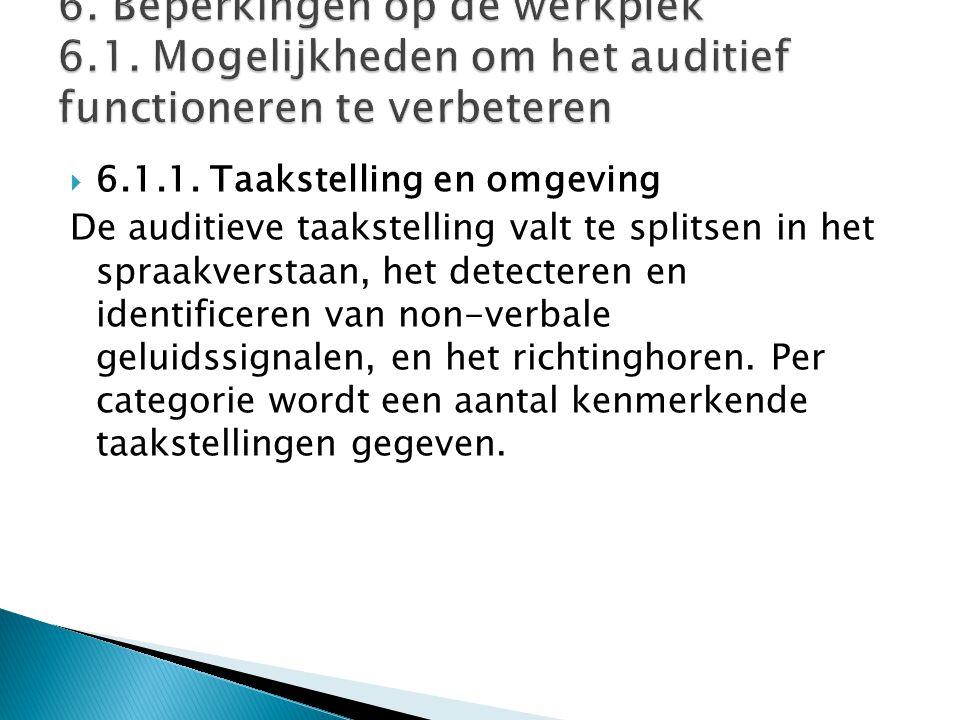  6.1.1. Taakstelling en omgeving De auditieve taakstelling valt te splitsen in het spraakverstaan, het detecteren en identificeren van non-verbale ge