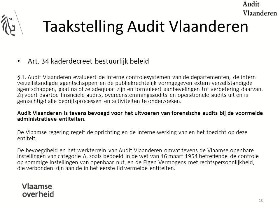 Taakstelling Audit Vlaanderen Art.34 kaderdecreet bestuurlijk beleid § 1.