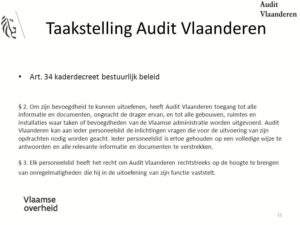 Taakstelling Audit Vlaanderen Art.34 kaderdecreet bestuurlijk beleid § 2.