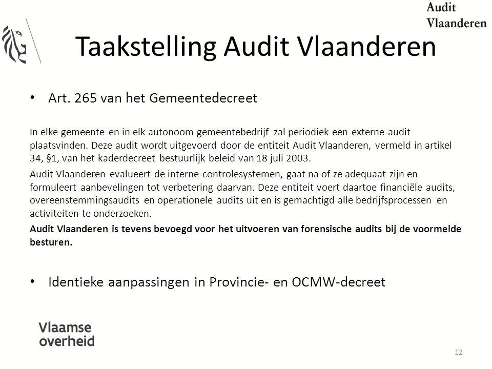 Taakstelling Audit Vlaanderen Art.