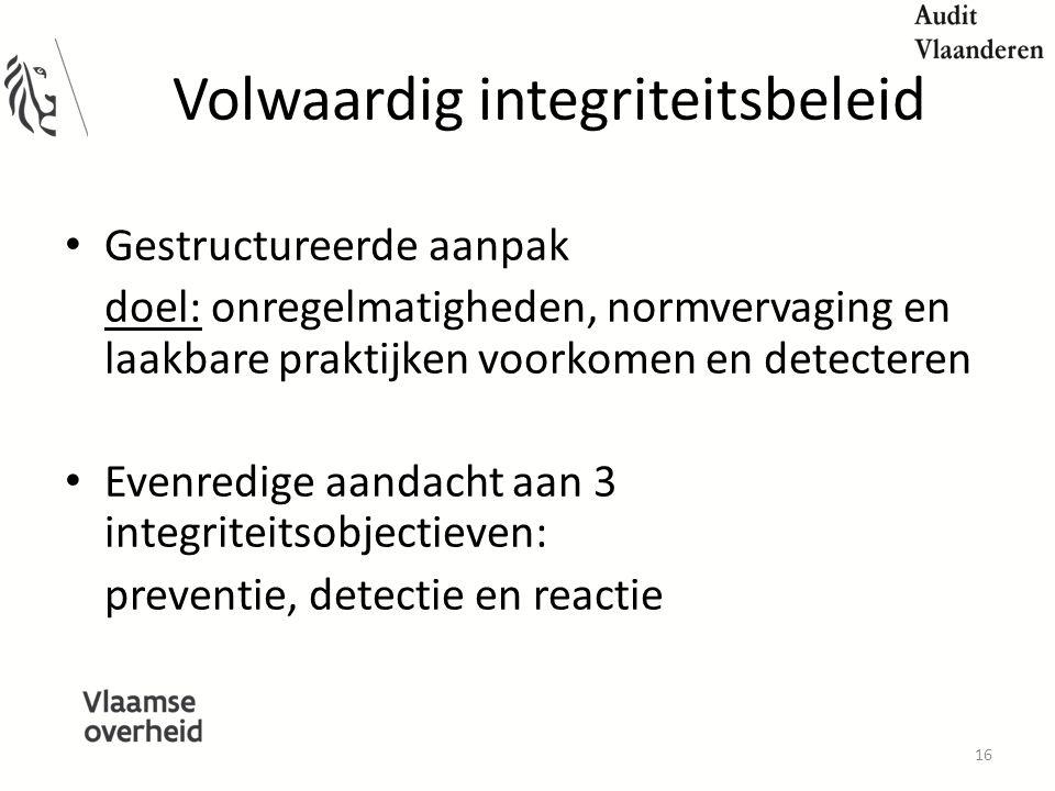 Volwaardig integriteitsbeleid Gestructureerde aanpak doel: onregelmatigheden, normvervaging en laakbare praktijken voorkomen en detecteren Evenredige aandacht aan 3 integriteitsobjectieven: preventie, detectie en reactie 16