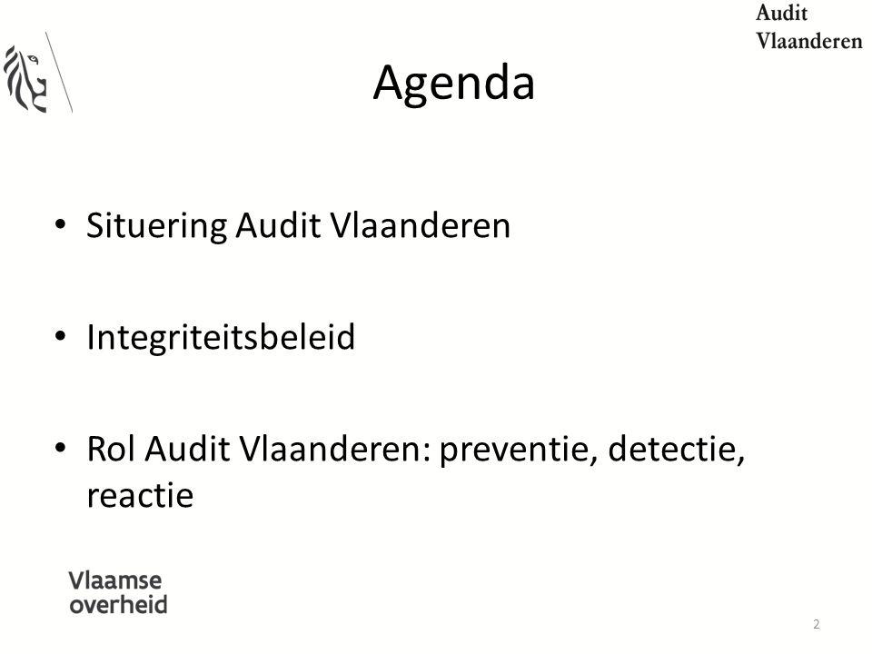 Agenda Situering Audit Vlaanderen Integriteitsbeleid Rol Audit Vlaanderen: preventie, detectie, reactie 2