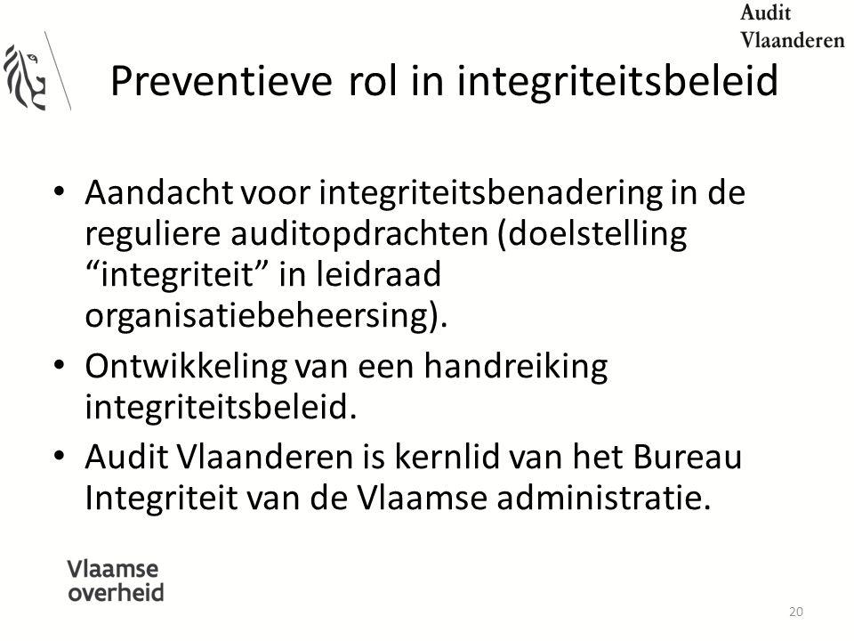 Preventieve rol in integriteitsbeleid Aandacht voor integriteitsbenadering in de reguliere auditopdrachten (doelstelling integriteit in leidraad organisatiebeheersing).
