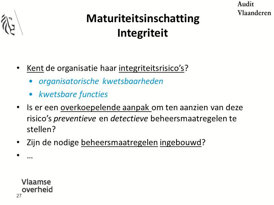 Maturiteitsinschatting Integriteit Kent de organisatie haar integriteitsrisico's.