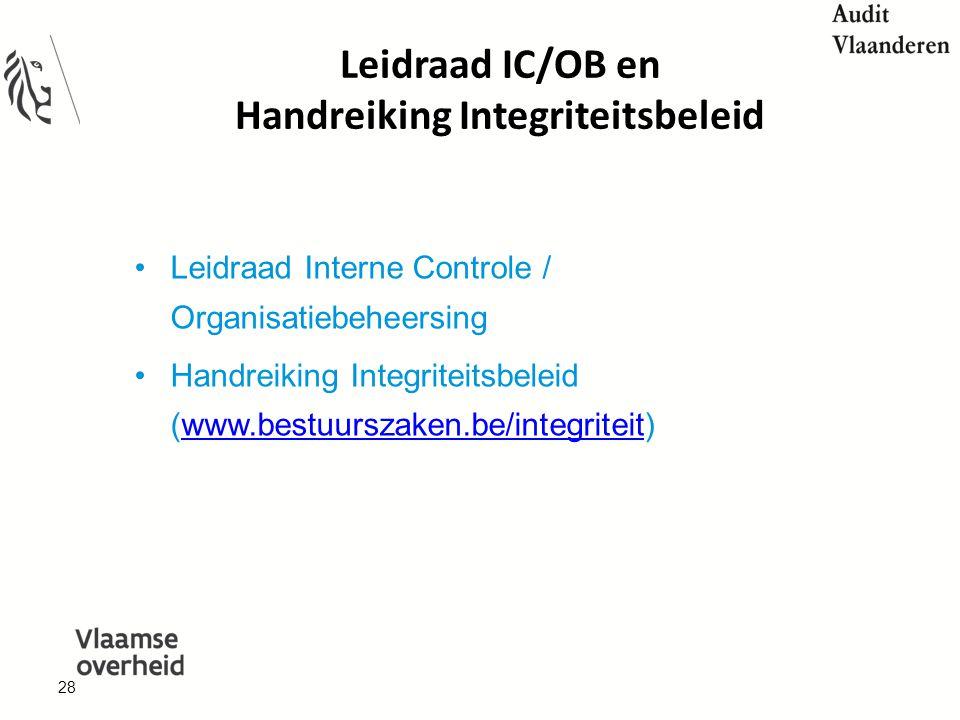 28 Leidraad IC/OB en Handreiking Integriteitsbeleid Leidraad Interne Controle / Organisatiebeheersing Handreiking Integriteitsbeleid (www.bestuurszaken.be/integriteit)www.bestuurszaken.be/integriteit