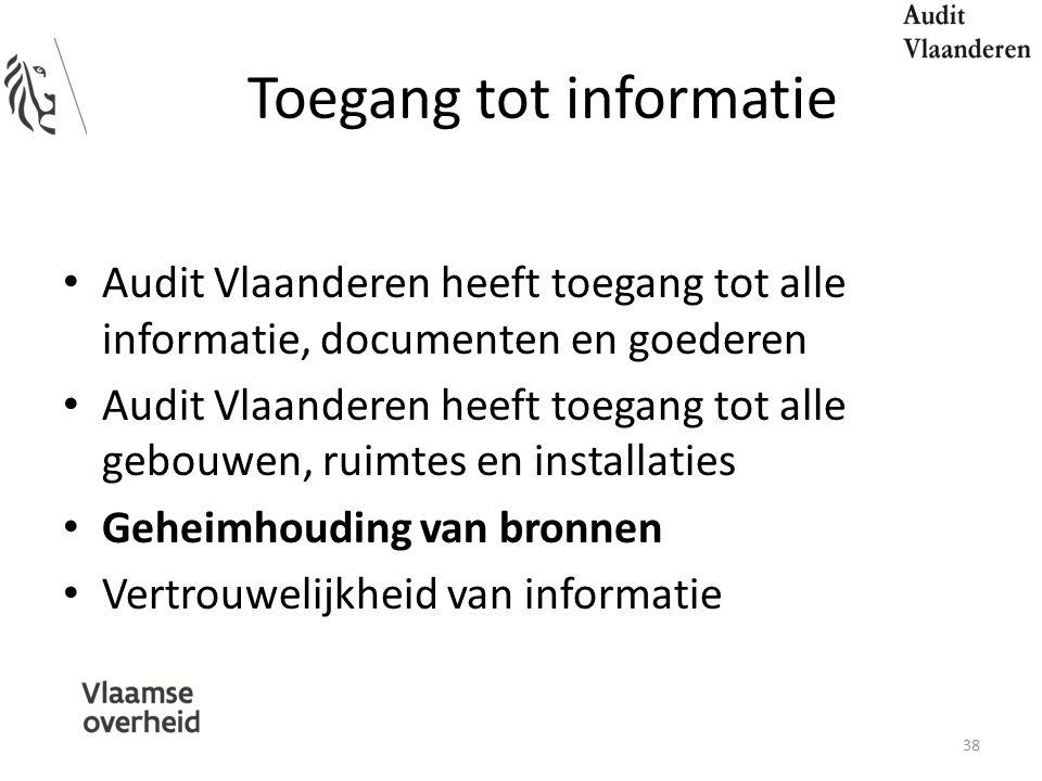 Toegang tot informatie Audit Vlaanderen heeft toegang tot alle informatie, documenten en goederen Audit Vlaanderen heeft toegang tot alle gebouwen, ruimtes en installaties Geheimhouding van bronnen Vertrouwelijkheid van informatie 38