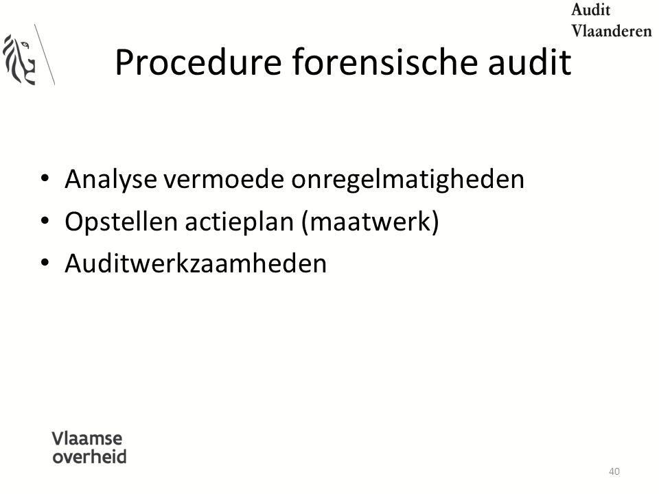 Procedure forensische audit Analyse vermoede onregelmatigheden Opstellen actieplan (maatwerk) Auditwerkzaamheden 40