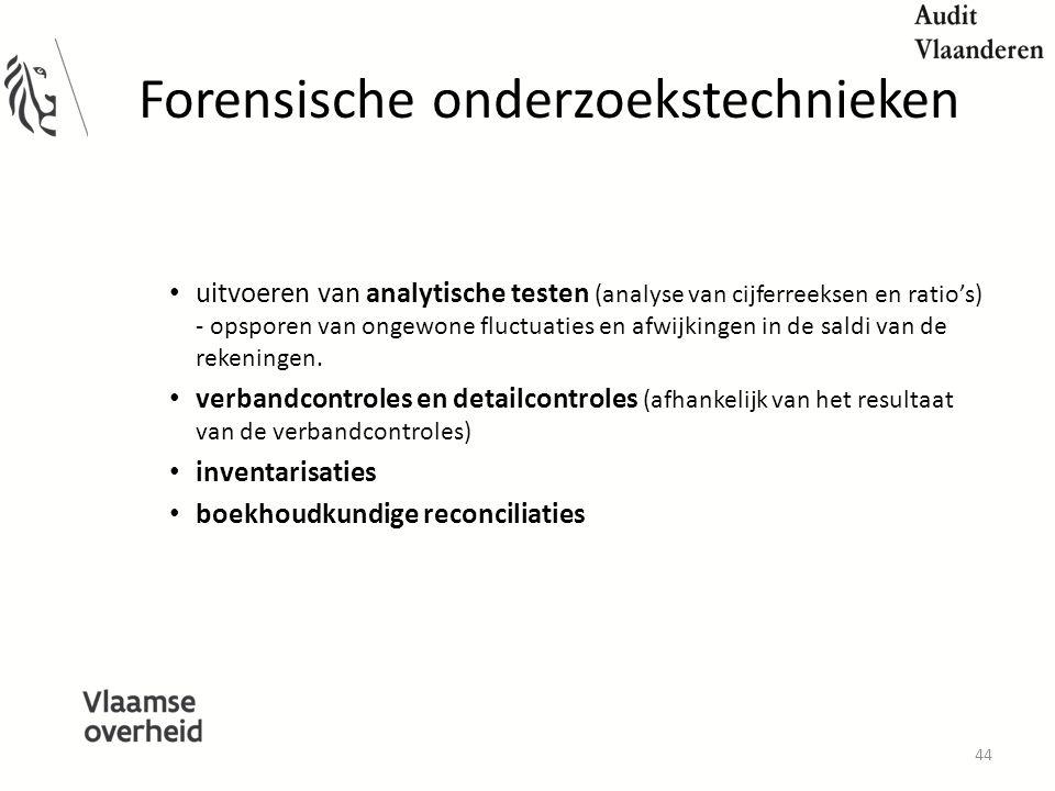 Forensische onderzoekstechnieken uitvoeren van analytische testen (analyse van cijferreeksen en ratio's) - opsporen van ongewone fluctuaties en afwijkingen in de saldi van de rekeningen.