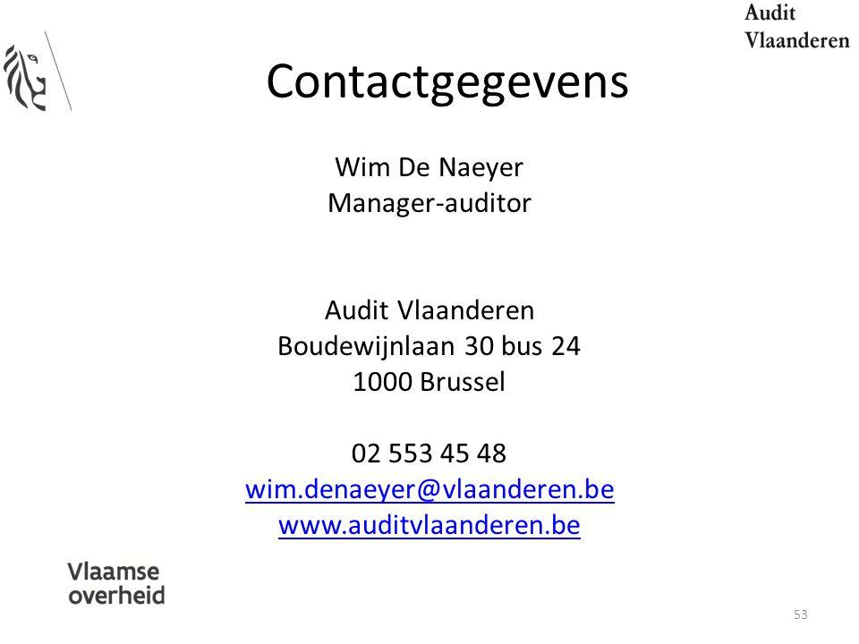 Contactgegevens Wim De Naeyer Manager-auditor Audit Vlaanderen Boudewijnlaan 30 bus 24 1000 Brussel 02 553 45 48 wim.denaeyer@vlaanderen.be www.auditvlaanderen.be 53