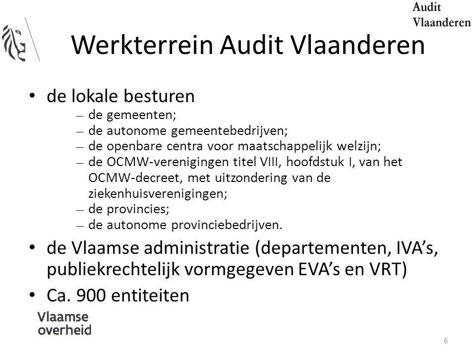 Werkterrein Audit Vlaanderen de lokale besturen – de gemeenten; – de autonome gemeentebedrijven; – de openbare centra voor maatschappelijk welzijn; – de OCMW-verenigingen titel VIII, hoofdstuk I, van het OCMW-decreet, met uitzondering van de ziekenhuisverenigingen; – de provincies; – de autonome provinciebedrijven.