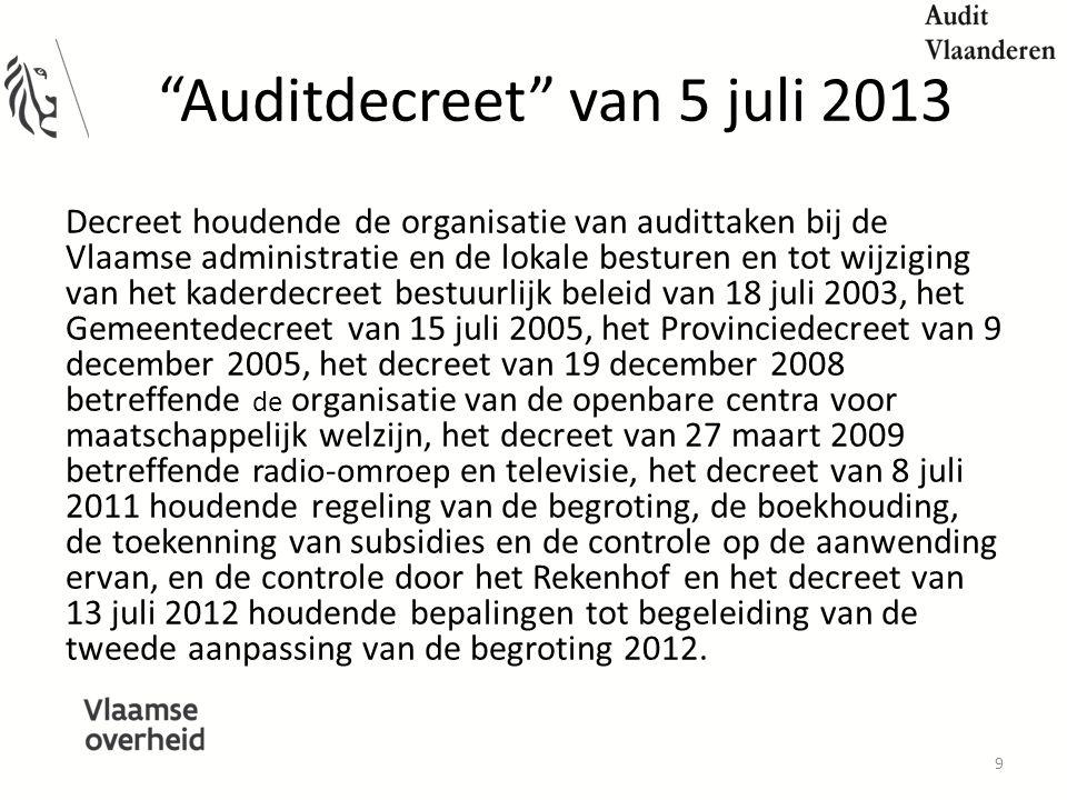 Auditdecreet van 5 juli 2013 Decreet houdende de organisatie van audittaken bij de Vlaamse administratie en de lokale besturen en tot wijziging van het kaderdecreet bestuurlijk beleid van 18 juli 2003, het Gemeentedecreet van 15 juli 2005, het Provinciedecreet van 9 december 2005, het decreet van 19 december 2008 betreffende de organisatie van de openbare centra voor maatschappelijk welzijn, het decreet van 27 maart 2009 betreffende radio-omroep en televisie, het decreet van 8 juli 2011 houdende regeling van de begroting, de boekhouding, de toekenning van subsidies en de controle op de aanwending ervan, en de controle door het Rekenhof en het decreet van 13 juli 2012 houdende bepalingen tot begeleiding van de tweede aanpassing van de begroting 2012.