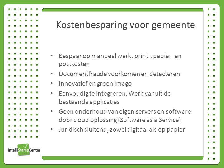 Bespaar op manueel werk, print-, papier- en postkosten Documentfraude voorkomen en detecteren Innovatief en groen imago Eenvoudig te integreren.