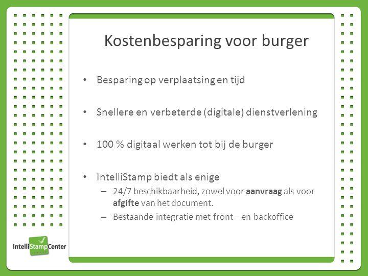 Besparing op verplaatsing en tijd Snellere en verbeterde (digitale) dienstverlening 100 % digitaal werken tot bij de burger IntelliStamp biedt als enige – 24/7 beschikbaarheid, zowel voor aanvraag als voor afgifte van het document.