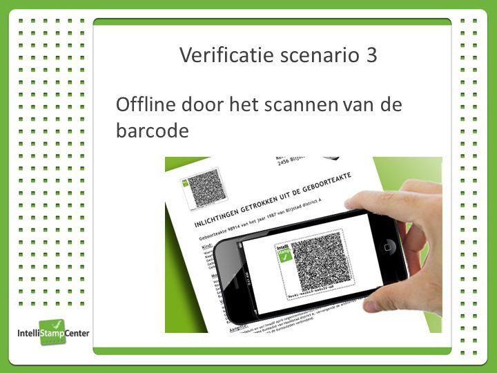 Verificatie scenario 3 Offline door het scannen van de barcode