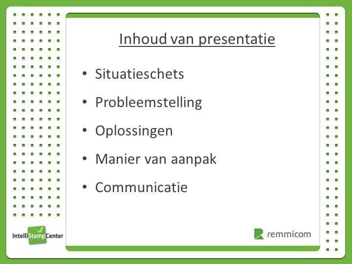 Inhoud van presentatie Situatieschets Probleemstelling Oplossingen Manier van aanpak Communicatie