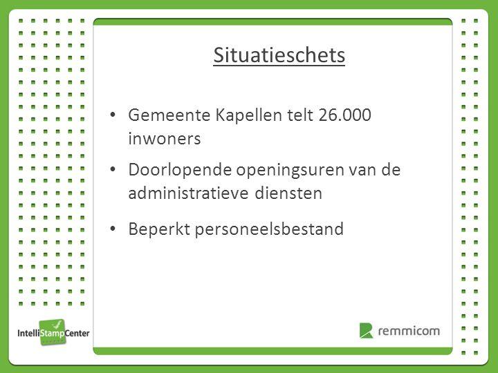 Situatieschets Gemeente Kapellen telt 26.000 inwoners Doorlopende openingsuren van de administratieve diensten Beperkt personeelsbestand