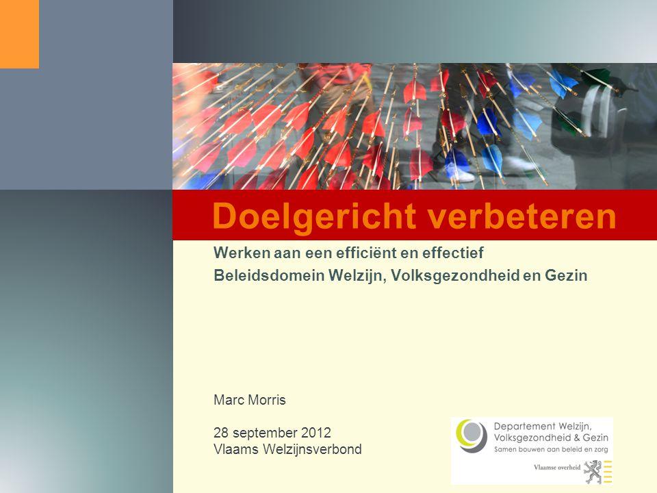 1 Werken aan een efficiënt en effectief Beleidsdomein Welzijn, Volksgezondheid en Gezin Marc Morris 28 september 2012 Vlaams Welzijnsverbond Doelgericht verbeteren