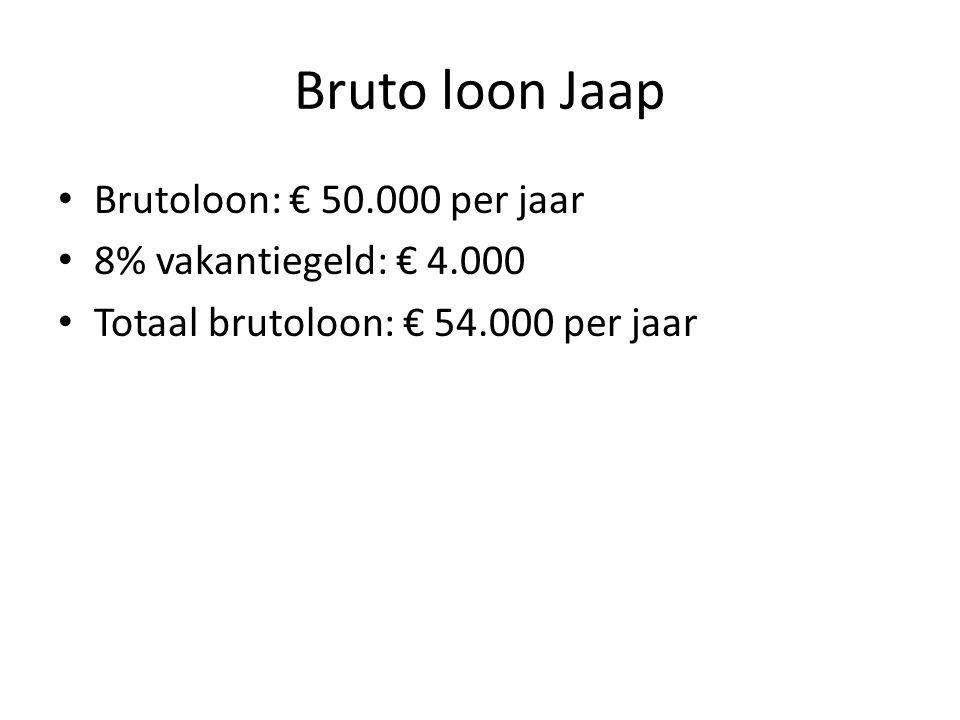 Bruto loon Jaap Brutoloon: € 50.000 per jaar 8% vakantiegeld: € 4.000 Totaal brutoloon: € 54.000 per jaar