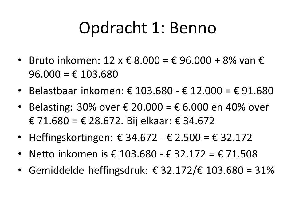 Opdracht 1: Benno Bruto inkomen: 12 x € 8.000 = € 96.000 + 8% van € 96.000 = € 103.680 Belastbaar inkomen: € 103.680 - € 12.000 = € 91.680 Belasting: