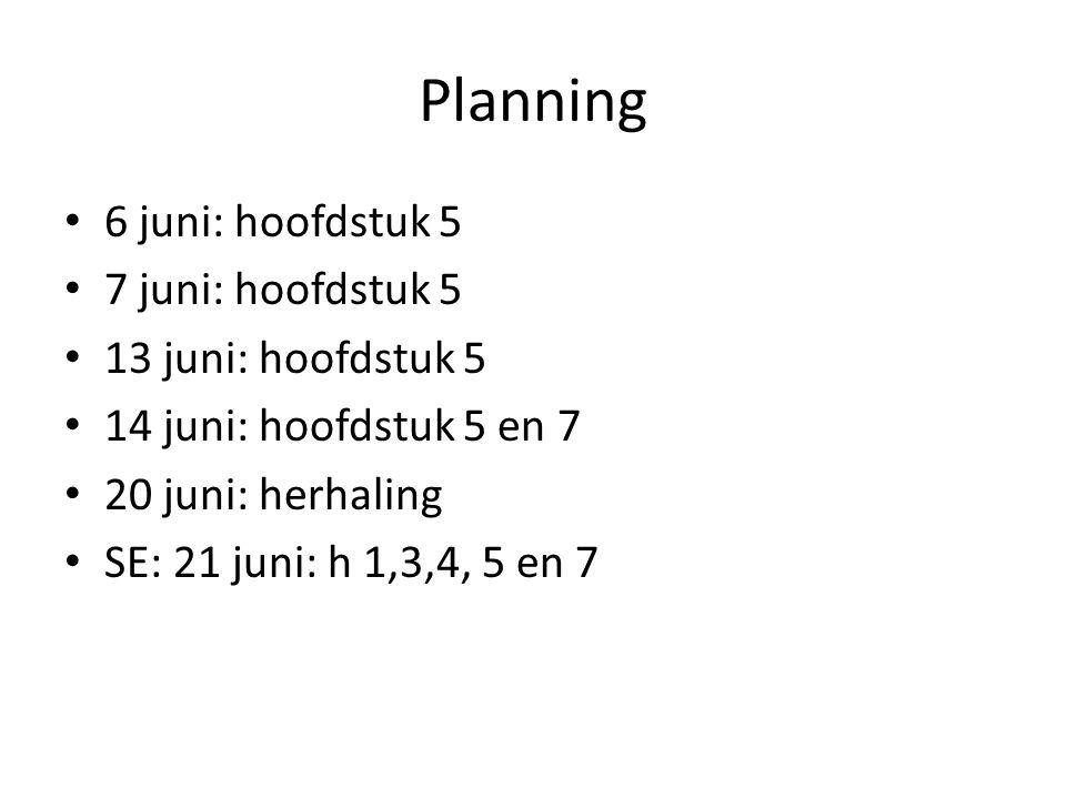 Planning 6 juni: hoofdstuk 5 7 juni: hoofdstuk 5 13 juni: hoofdstuk 5 14 juni: hoofdstuk 5 en 7 20 juni: herhaling SE: 21 juni: h 1,3,4, 5 en 7