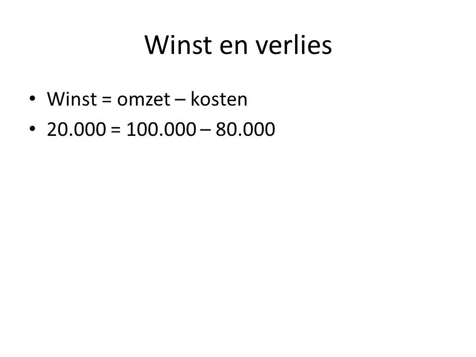 Winst en verlies Winst = omzet – kosten 20.000 = 100.000 – 80.000