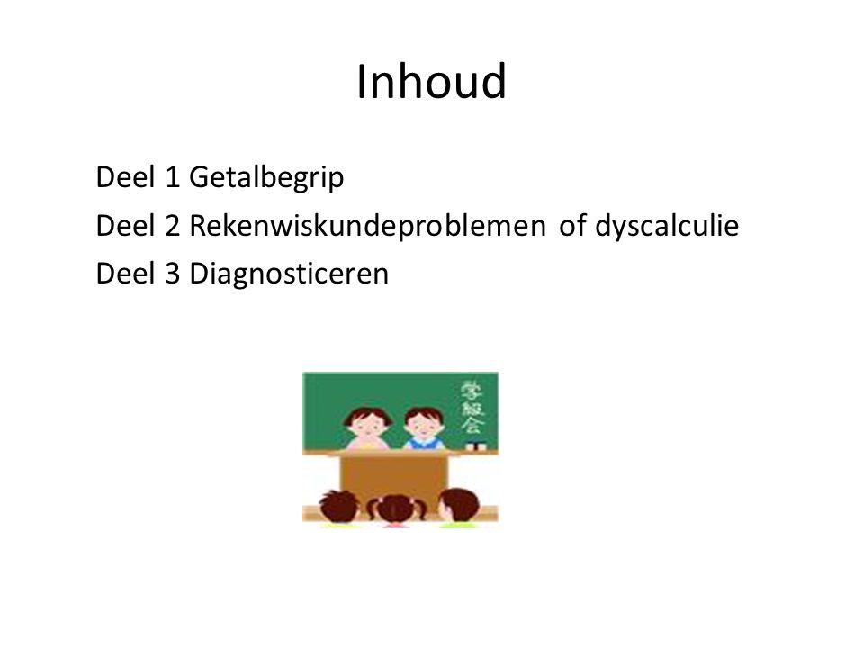 Inhoud Deel 1 Getalbegrip Deel 2 Rekenwiskundeproblemen of dyscalculie Deel 3 Diagnosticeren