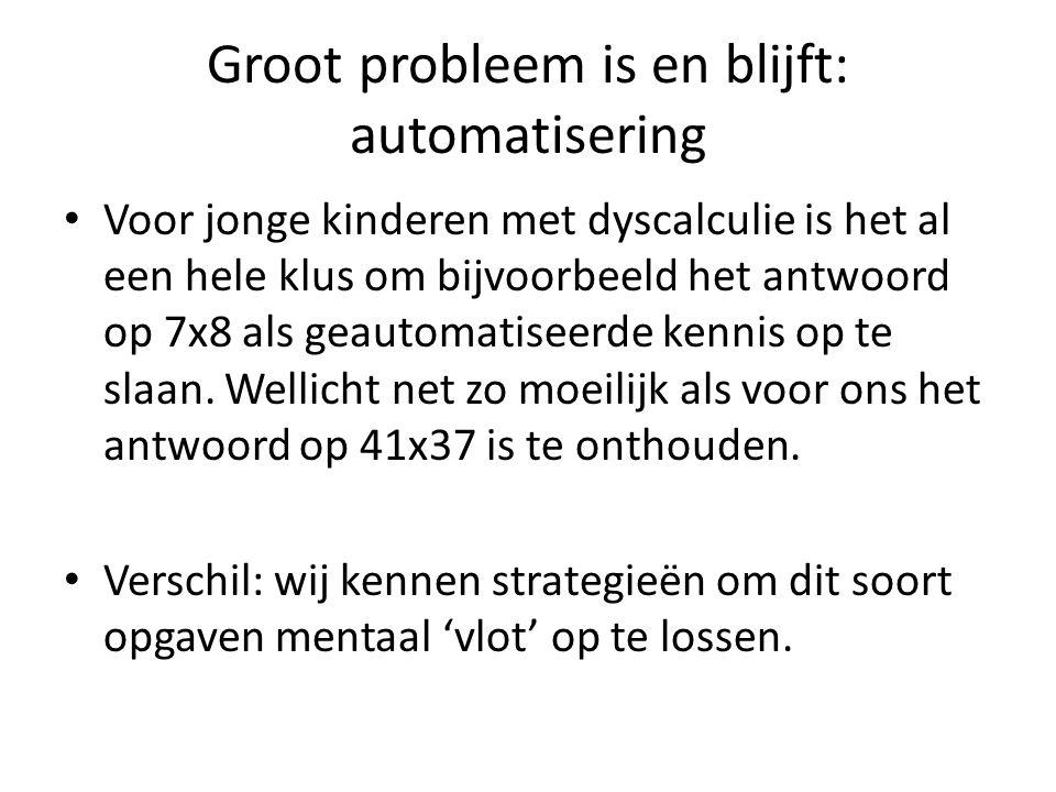 Groot probleem is en blijft: automatisering Voor jonge kinderen met dyscalculie is het al een hele klus om bijvoorbeeld het antwoord op 7x8 als geautomatiseerde kennis op te slaan.