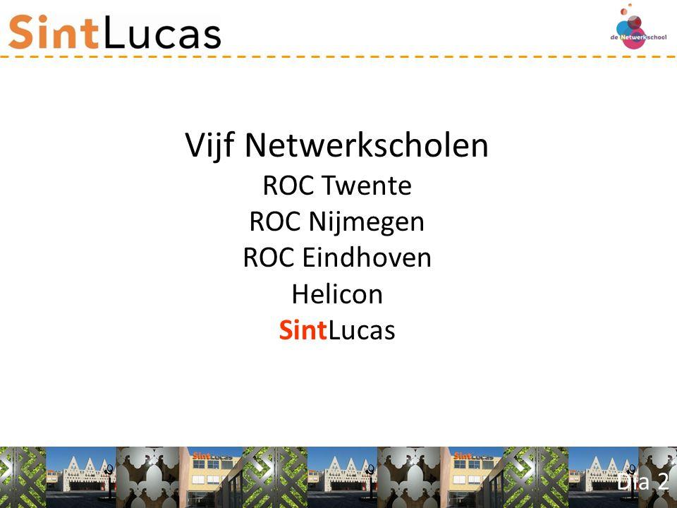 Dia 2 Vijf Netwerkscholen ROC Twente ROC Nijmegen ROC Eindhoven Helicon SintLucas
