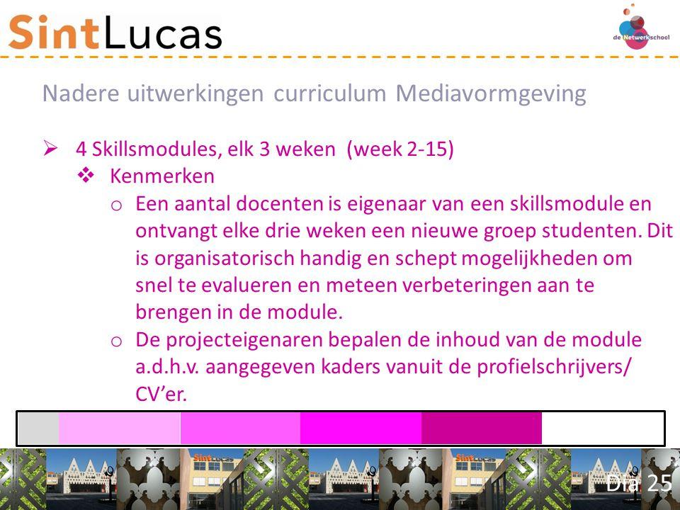 Dia 25  4 Skillsmodules, elk 3 weken (week 2-15)  Kenmerken o Een aantal docenten is eigenaar van een skillsmodule en ontvangt elke drie weken een nieuwe groep studenten.