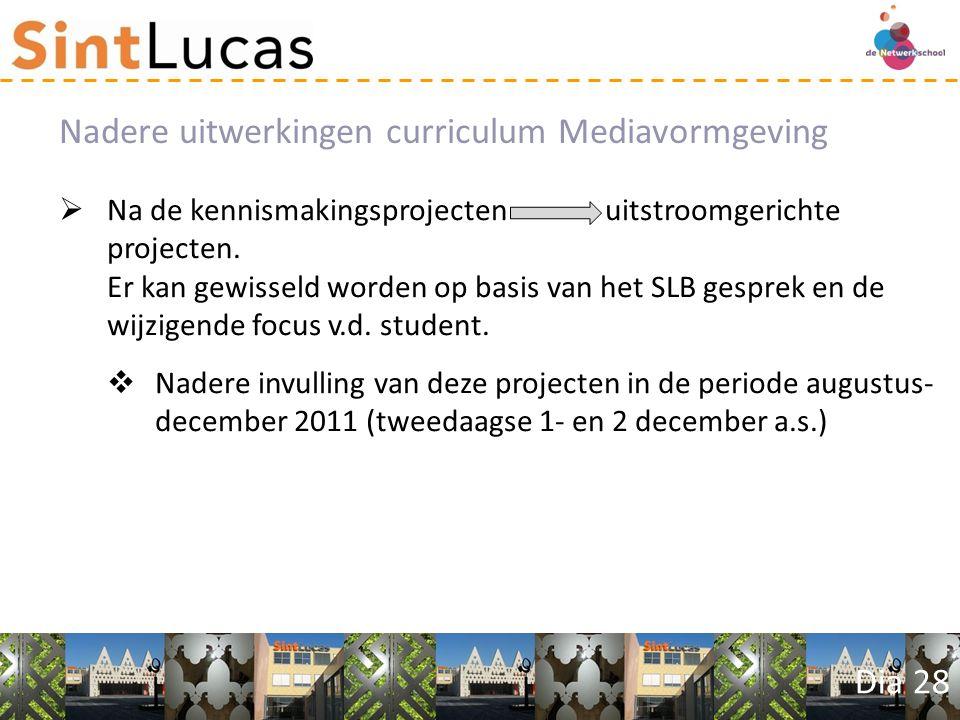 Dia 28  Na de kennismakingsprojecten uitstroomgerichte projecten.