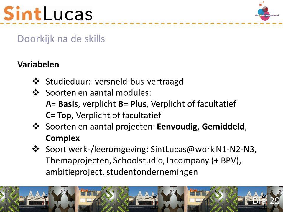 Dia 29 Variabelen  Studieduur: versneld-bus-vertraagd  Soorten en aantal modules: A= Basis, verplicht B= Plus, Verplicht of facultatief C= Top, Verplicht of facultatief  Soorten en aantal projecten: Eenvoudig, Gemiddeld, Complex  Soort werk-/leeromgeving: SintLucas@work N1-N2-N3, Themaprojecten, Schoolstudio, Incompany (+ BPV), ambitieproject, studentondernemingen Doorkijk na de skills