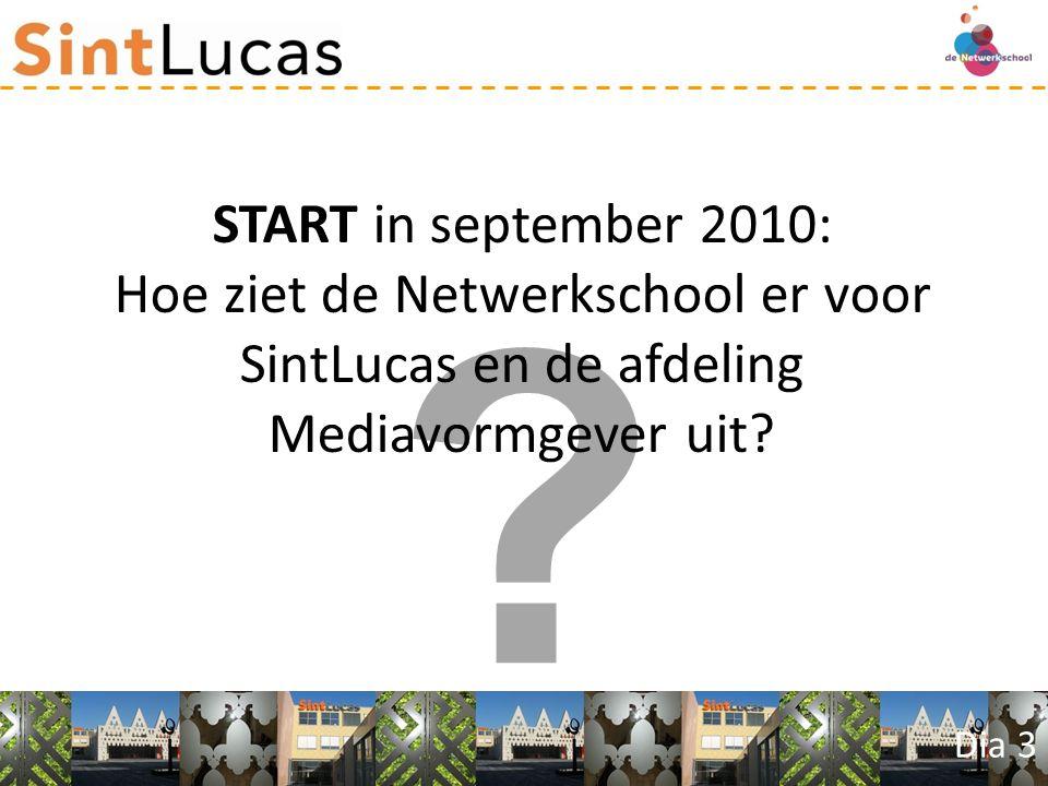 Dia 3 START in september 2010: Hoe ziet de Netwerkschool er voor SintLucas en de afdeling Mediavormgever uit