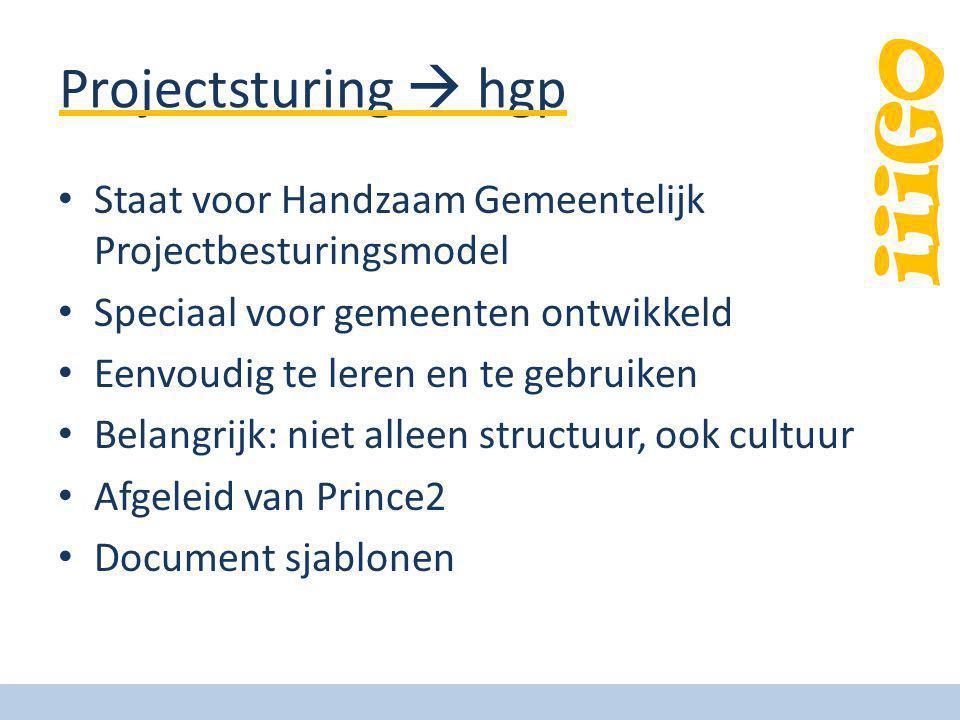Projectsturing  hgp Staat voor Handzaam Gemeentelijk Projectbesturingsmodel Speciaal voor gemeenten ontwikkeld Eenvoudig te leren en te gebruiken Bel