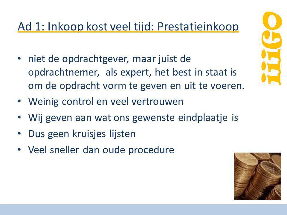 iiiGO Ad 1: Inkoop kost veel tijd: Prestatieinkoop niet de opdrachtgever, maar juist de opdrachtnemer, als expert, het best in staat is om de opdracht