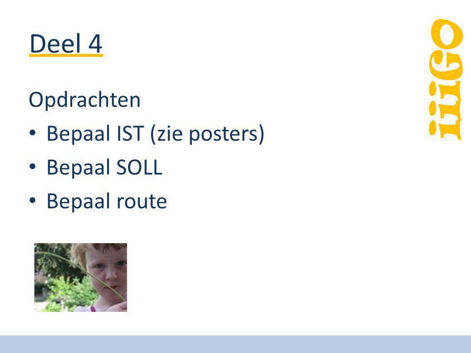 iiiGO Deel 4 Opdrachten Bepaal IST (zie posters) Bepaal SOLL Bepaal route