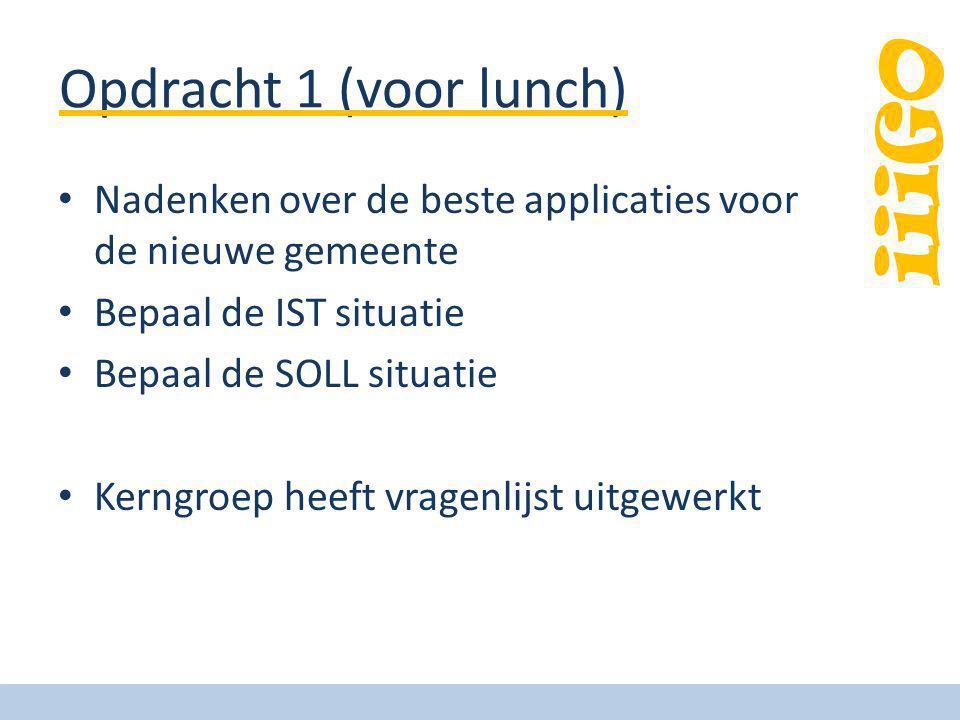 iiiGO Opdracht 1 (voor lunch) Nadenken over de beste applicaties voor de nieuwe gemeente Bepaal de IST situatie Bepaal de SOLL situatie Kerngroep heef
