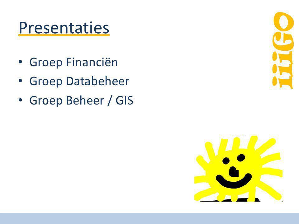 Presentaties Groep Financiën Groep Databeheer Groep Beheer / GIS