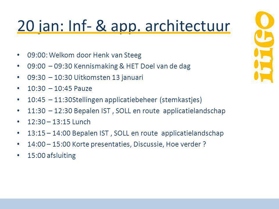 iiiGO 20 jan: Inf- & app. architectuur 09:00: Welkom door Henk van Steeg 09:00 – 09:30 Kennismaking & HET Doel van de dag 09:30 – 10:30 Uitkomsten 13