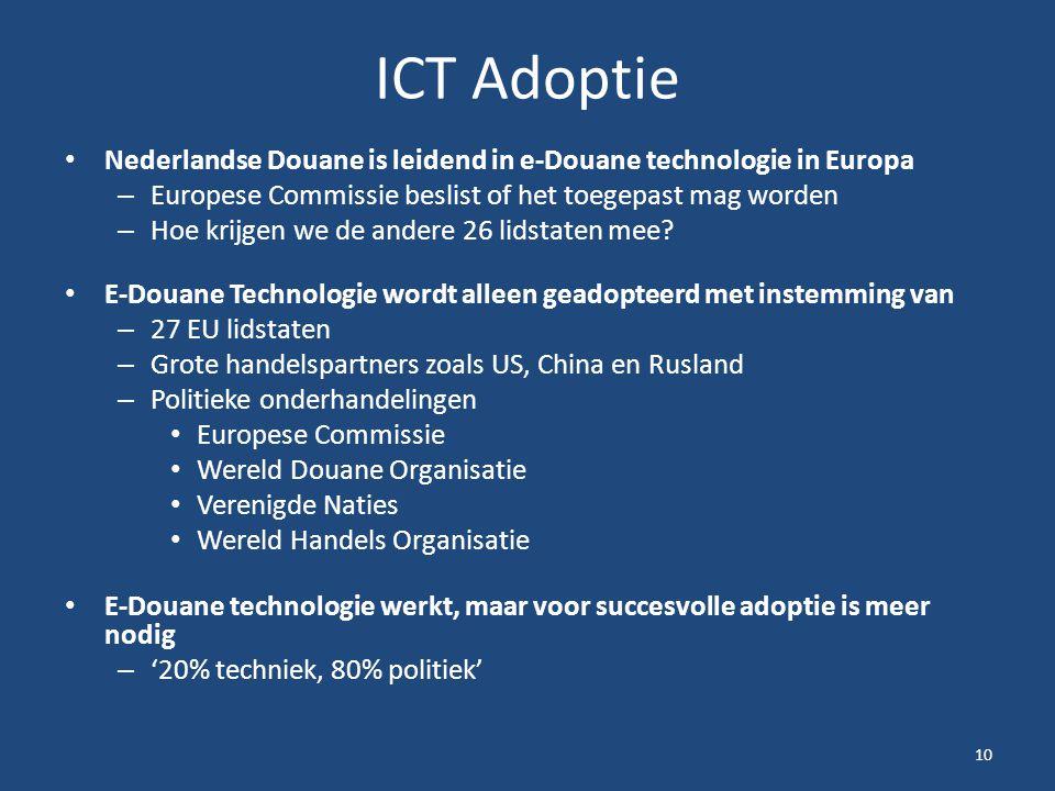 ICT Adoptie Nederlandse Douane is leidend in e-Douane technologie in Europa – Europese Commissie beslist of het toegepast mag worden – Hoe krijgen we de andere 26 lidstaten mee.