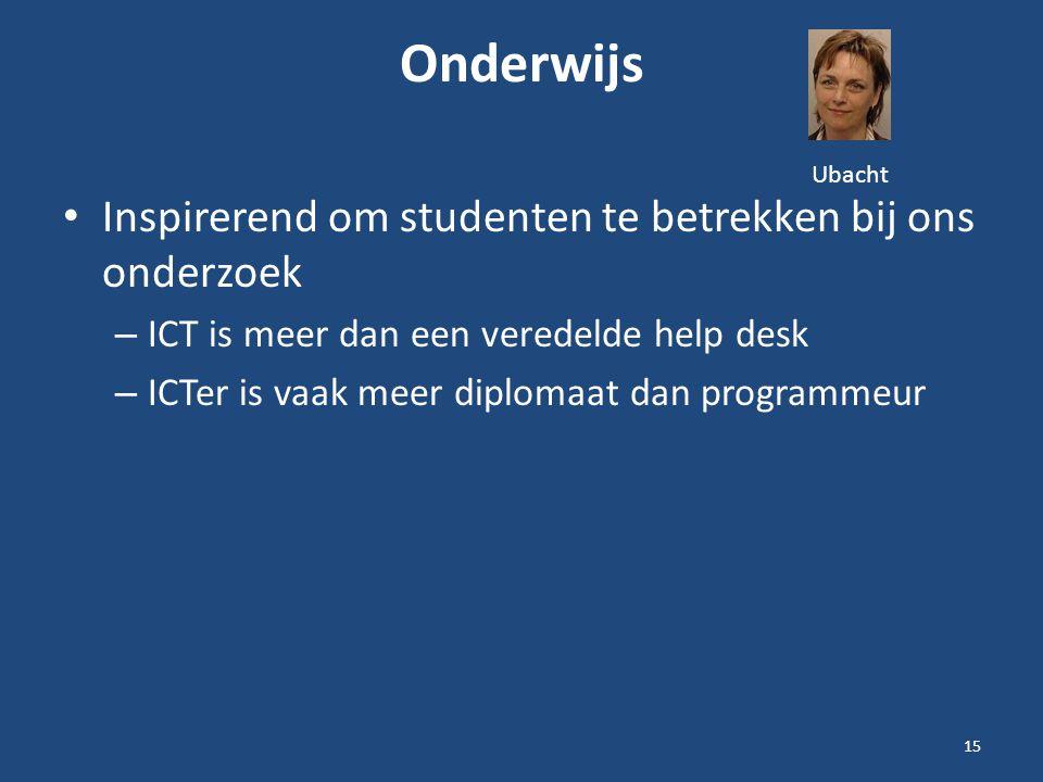 Onderwijs Inspirerend om studenten te betrekken bij ons onderzoek – ICT is meer dan een veredelde help desk – ICTer is vaak meer diplomaat dan programmeur 15 Ubacht