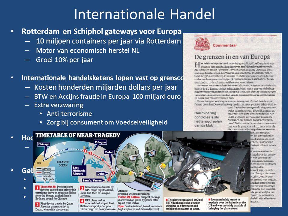 Internationale Handel Rotterdam en Schiphol gateways voor Europa – 10 miljoen containers per jaar via Rotterdam – Motor van economisch herstel NL – Gr
