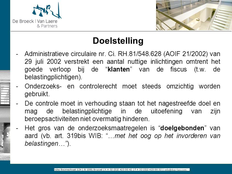 Doelstelling -Administratieve circulaire nr. Ci. RH.81/548.628 (AOIF 21/2002) van 29 juli 2002 verstrekt een aantal nuttige inlichtingen omtrent het g