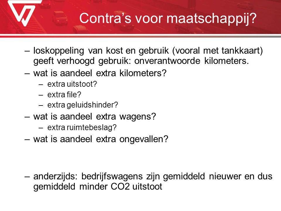Contra's voor maatschappij? –loskoppeling van kost en gebruik (vooral met tankkaart) geeft verhoogd gebruik: onverantwoorde kilometers. –wat is aandee
