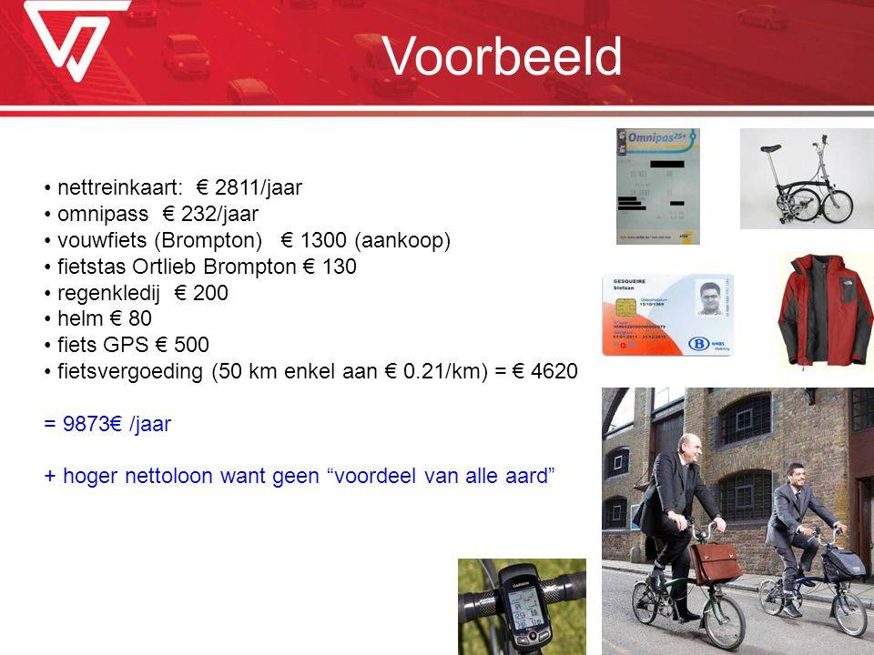 Voorbeeld nettreinkaart: € 2811/jaar omnipass € 232/jaar vouwfiets (Brompton) € 1300 (aankoop) fietstas Ortlieb Brompton € 130 regenkledij € 200 helm