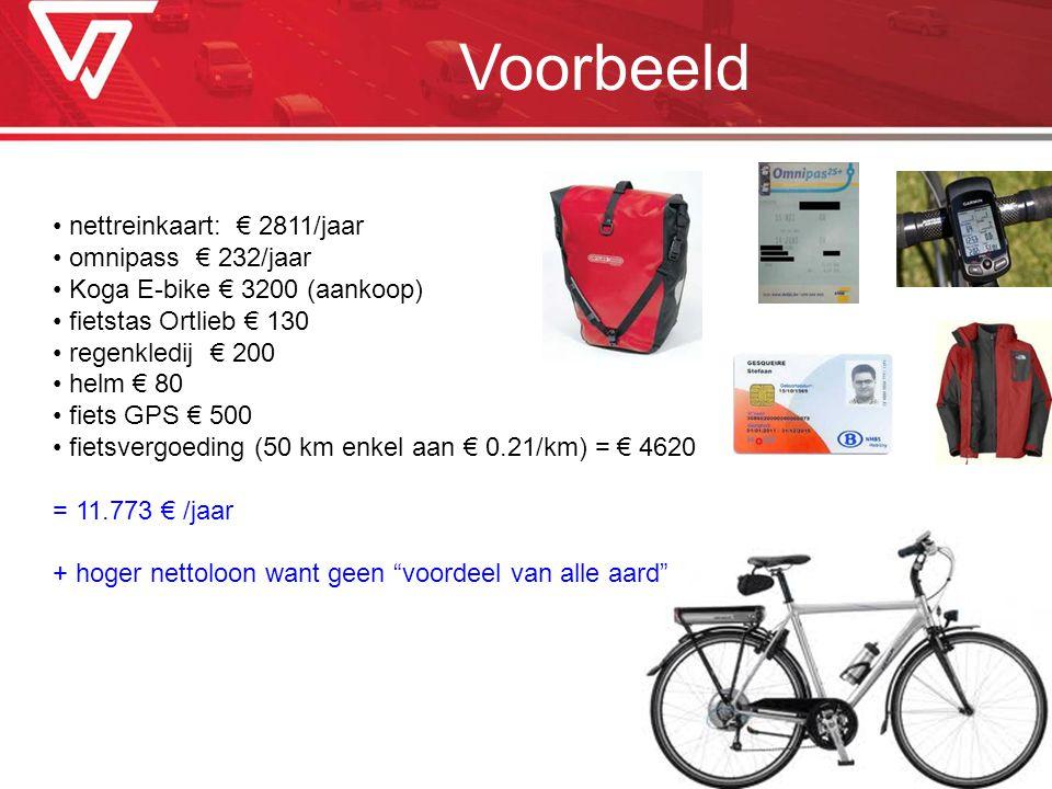 Voorbeeld nettreinkaart: € 2811/jaar omnipass € 232/jaar Koga E-bike € 3200 (aankoop) fietstas Ortlieb € 130 regenkledij € 200 helm € 80 fiets GPS € 5