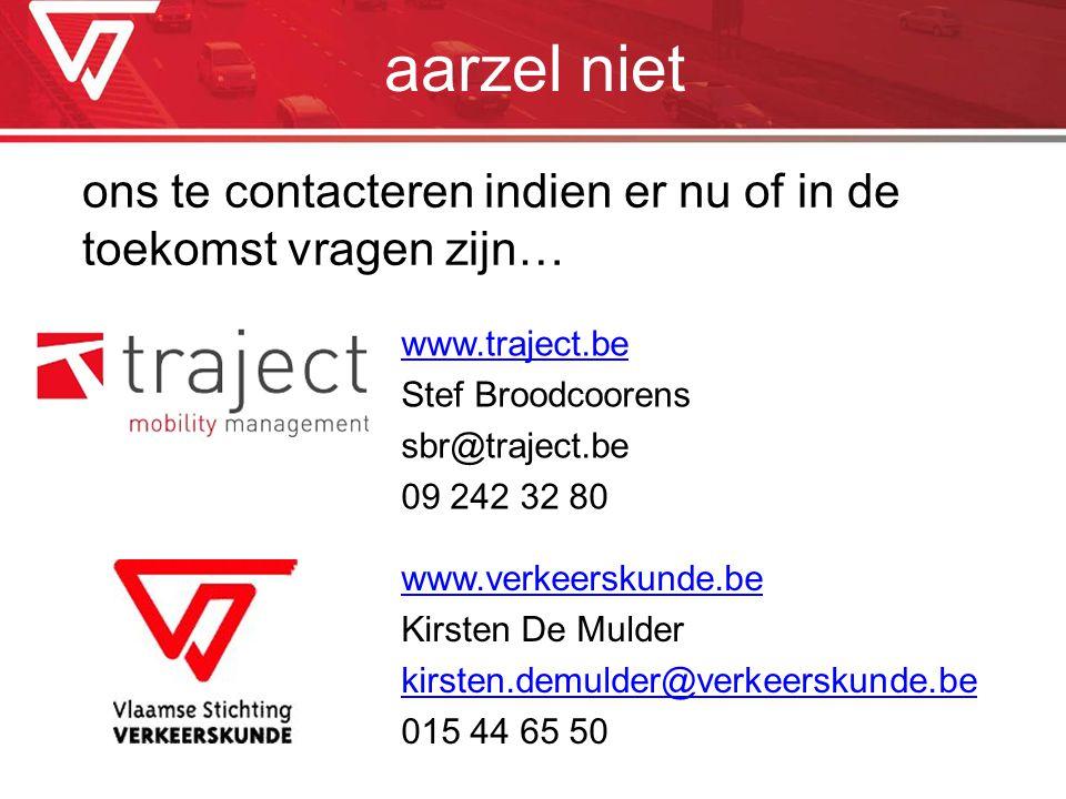 aarzel niet ons te contacteren indien er nu of in de toekomst vragen zijn… www.verkeerskunde.be Kirsten De Mulder kirsten.demulder@verkeerskunde.be 01